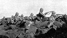 Battle of Ladysmith, 30 October 1899 - Devonshire Regiment facing Pepworth Hill, firing from behind boulders which provided for an effective cover. British Soldier, British Army, Uk History, The Settlers, British Colonial, South Africa, Battle, African, War
