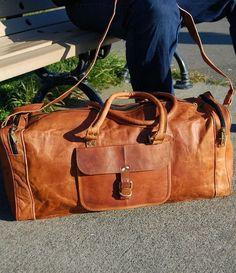 483eee4370 24 large unisex genuine Leather luggage Bag gym weekend overnight duffel  bag Mens Travel Bag