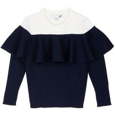 Comme Moi Ruffle colourblock wool blend sweater ($155) ❤ liked on Polyvore featuring tops, sweaters, blue, blue off shoulder top, blue top, ruffled sweaters, color block sweater and ruffle top