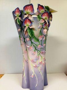 Franz Porcelain Wondrous Wisteria Design Sculptured Large Vase Limited Edition | eBay