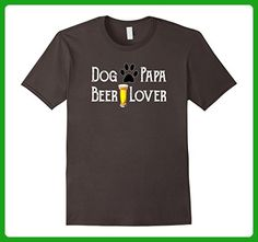 Mens Cool Dog Papa Beer Lover T Shirt With Paw Print Beer Glass Large Asphalt - Food and drink shirts (*Amazon Partner-Link)