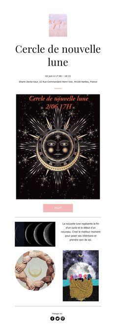 Cercle de nouvelle lune Pandora, Yoga, Cards, Nantes, New Moon, Take Care Of Yourself, June, Baby Born, Maps