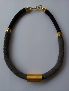 rope necklace with grey real leather and brass $24