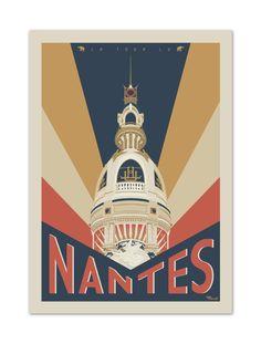 """€25 . Affiche Illustration Originale NANTES """"La Tour LU"""" . Papier 350g/m² Couché Mat"""
