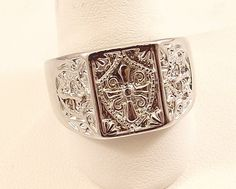 Mens Cross Silver Finish Ring~Size 13~ Free Gift Box