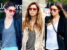 Forget rose-colored glasses. We want to see the world through Jessica Biel's red-framed sunnies, which, despite their bold hue, seem to go with a variety of looks from her closet.