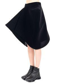 MARIOS Black velvet skirt scalene trapezoid shape openwork fabric side zipper closure 75% PL 25% PA