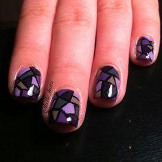 Instagram @Kells_Hotz #nails #makeup #fashion #glitter #mosaic #purple #stainedglass