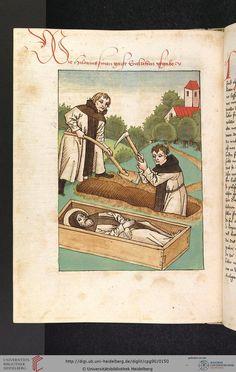Burial of St. Hilarius. Vitaspatrum, German ca. 1477, Universitätsbilbiothek Heidelberg, Cod. Pal. germ. 90, Fol 72v