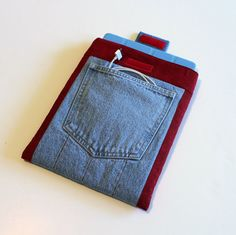 Recycled Denim iPad 1 or 2 or 3 Padded Sleeve by QuiltSewCover, $24.00