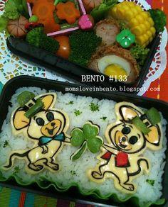 Mom's Love In Bento: Bento St. Patrick's Pixie and Dixie Bento