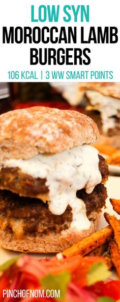Moroccan Lamb Burgers – Pinch Of Nom Low Syn Moroccan Lamb Burgers Slimming World Burgers, Slimming World Dinners, Slimming World Diet, Slimming Eats, Slimming World Recipes, Lamb Burger Recipes, Lamb Recipes, Ww Recipes, Greek Recipes