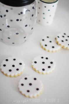 black and white polka dot cookies.