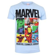 #Marvel Men's Gridlock T Shirt Sky Blue