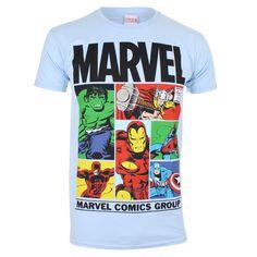 #Marvel Men's Gridlock T Shirt Sky Blue