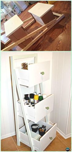 DIY Drawer Ladder Shelf Organizer Instruction - Practical Ways to Recycle Old Drawers for Home