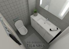 3D - sisustussuunnittelu ja visualisointi / moderni wc, harmaa laatta 10x10 ja 45x45, valkoinen maali, grey and white bathroom, Haukansulka C, Keski-Suomen Rakennuskeskus Oy, ennakkomarkkinointi/ 3D-sisustus Tilanna, sisustussuunnnittelija Jyväskylä Bathtub, Bathroom, Standing Bath, Washroom, Bathtubs, Bath Room, Bath, Bathrooms, Bath Tub