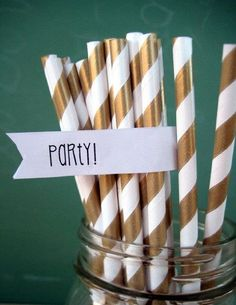 Gold Paper Straws - 25 Striped Gold Straws With Printable DIY Toppers - Party Striped Straws by MyLittleOtter on Etsy Champagne Wedding Favors, Mini Champagne, Paper Straws, Golden Birthday, 90th Birthday, Poker Party, Great Gatsby Party, Our Wedding