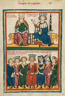 Walther is one of the contestants in this depiction in the Codex Manesse of the Sängerkrieg.