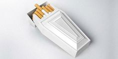 Creative cigarette packaging designed to encourage people to quit smoking. Cigarette packaging, designed by Didac Catal& houses one cigarette and one match inside a small coffin shaped box. Smoking Kills, Anti Smoking, Clever Packaging, Packaging Design, Product Packaging, Packaging Ideas, Bread Packaging, Innovative Packaging, The Wicked The Divine