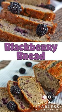 Blackberry Bread from My Fearless Kitchen. Make this quick and easy Blackberry Bread recipe with fresh summer blackberries or use frozen blackberries to get a taste of summer any time of the year! - Blackberries - Ideas of Blackberries Blackberry Recipes Easy, Blackberry Cake, Blackberry Recipes Breakfast, Blackberry Muffins Easy, Blackberry Bread Pudding Recipe, Black Berry Recipes, Blackberry Crisp, Fruit Bread, Dessert Bread