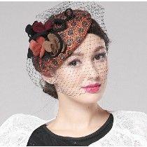 Petit chapeau voilette beret femme pas cher en feutre orange à pois décoré de fleur et voile
