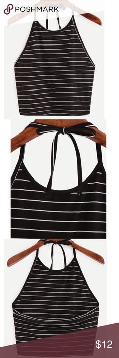 Striped Halter Top Brand New just in time to start your Spring shopping. Casual, Black striped, cotton, Halter Top. Fabric is very stretchy. Fits Bust 74/84cm and length is 45cm. Affordable and cute!! Tops Camisoles