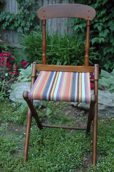 Vintage Folding Wood Camp/Campaign Chair. Camp in style this summer!