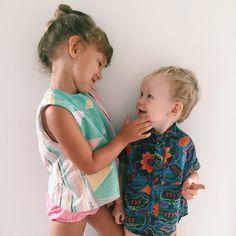 'Not always eye to eye but always heart to heart.' Unknown (Our new Pastel Party Sets are now online!) www.alfiechildrensapparel.com #alfiechildrensapparel #kidsfashion #summerset #vintage #partyshirt #siblings
