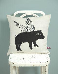 Flying Pig Black Cushion