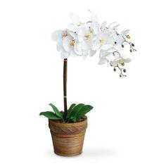 arranjo de flores artificiais orquideas cachepot madeira