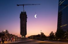 "To mark the celebration of the anniversary of man's landing on the moon urban artist SpY reproduced a waxing crescent "" LUNA "" installed on one of the construction cranes of the Caleido complex, in the north of Madrid"