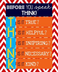 """Before You Speak, Think... 11x14"""" print - Primary Colors - Matches Classroom Rules - PERFECT TEACHER GIFT"""