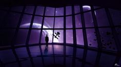 sci fi science fiction art artistic spaceship spacecraft window people satellite planets moon stars purple dark futuristic glass wallpaper background