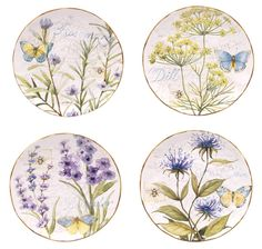 Herb Garden Assorted Set of 4 Ceramic Dessert Plates , 43181STCTD | Lang