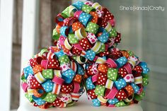 Ribbon Balls - ornaments, decor for child's room, holidays, parties, etc.