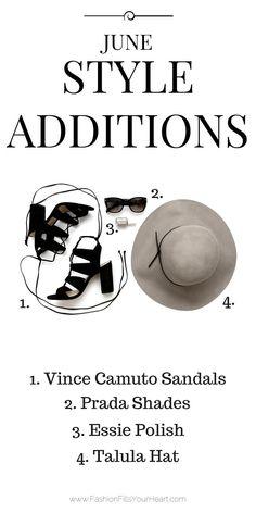 8c5919bdf01c1 June Style Additions  1. Vince Camuto Winola Sandals 2. Prada Shades 3.  Essie Polish 4. Talula Hat
