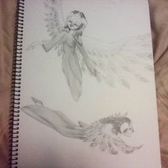Day 12 of my AP Studio Art sketchbook. Done in graphite pencil by Julia DeStefano. Returning to one of my previous character designs. I think I'm in love with those wings... But not sure how I feel about the horns. Reminds me too much of Maleficent. Have also decided that her species shall be known as the birdfolk.