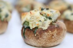 Brie and Fresh Spinach Stuffed Mushrooms