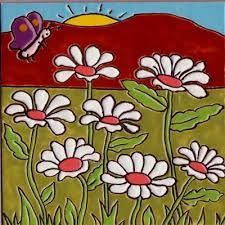 Resultado de imagen para imágenes de cuerda seca Pottery Painting, Ceramic Painting, Ceramic Art, Easy Canvas Painting, Color Crafts, Art N Craft, Flower Doodles, Decorative Tile, Nature Paintings