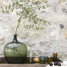 Olives and vintage bottles