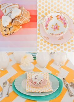 mix polka dots with chevron patterns, add a little vintage teacups and we're DONE! ;)