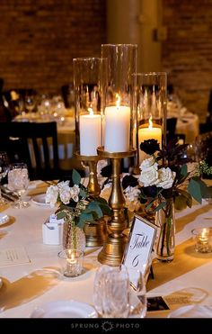 Candle wedding centerpieces - 37 Romantic Centerpieces With Candles To Excite You – Candle wedding centerpieces Gold Wedding Centerpieces, Candle Wedding Centerpieces, Centerpiece Ideas, Table Decorations, Centerpiece Flowers, Candlestick Centerpiece, Centrepieces, September Wedding Centerpieces, Mercury Glass Centerpiece