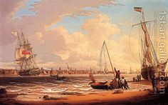 """An English Vessel Off The Liverpool Waterfront"", c.1830,   by Robert Salmon"