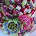 Alkaline Sisters   Crunchy Salad of Pink and Purple Veggies Dressed with Thyme- beets, radish, cabbage & beans