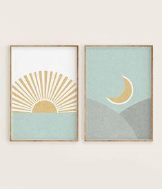 Pastel Landscape, Yellow Sun, Mustard Yellow, Neon Yellow, Moon Print, Nursery Wall Art, Diy Art, Art Inspo, Modern Art