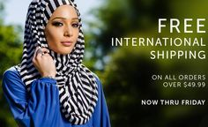 Free International Shipping on all orders over $49.99! Only until Friday! #hijabista #hijab-ista #hijab_ista #hijab #free #sale #getitwhileyoucan #international