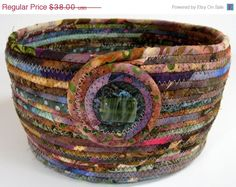ON SALE Scrappy Coiled Rope Basket / Bowl / Planter  by SallyManke
