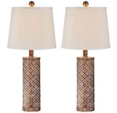 360 Lighting Gisele Gold Wash Lattice Column Table Lamp Set of 2 - Style Shabby Chic Lamp Shades, Rustic Lamp Shades, Modern Lamp Shades, Rustic Chandelier, Rustic Lighting, Lighting Ideas, Tom Dixon, Pottery Barn, Colorful Lamp Shades