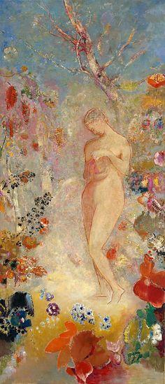 Painting by Odilon Redon (1840-1916), ca 1914, Pandora, oil on canvas.